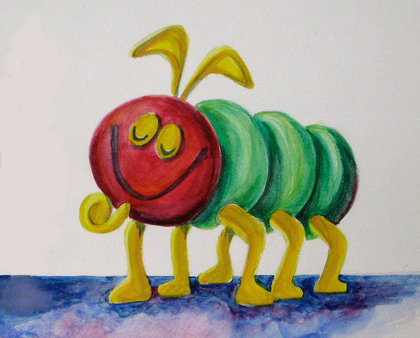 A painting of a six-legged, friendly-looking, bug-like creature