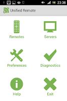 Menu główne programu Unified Remote w Androidzie