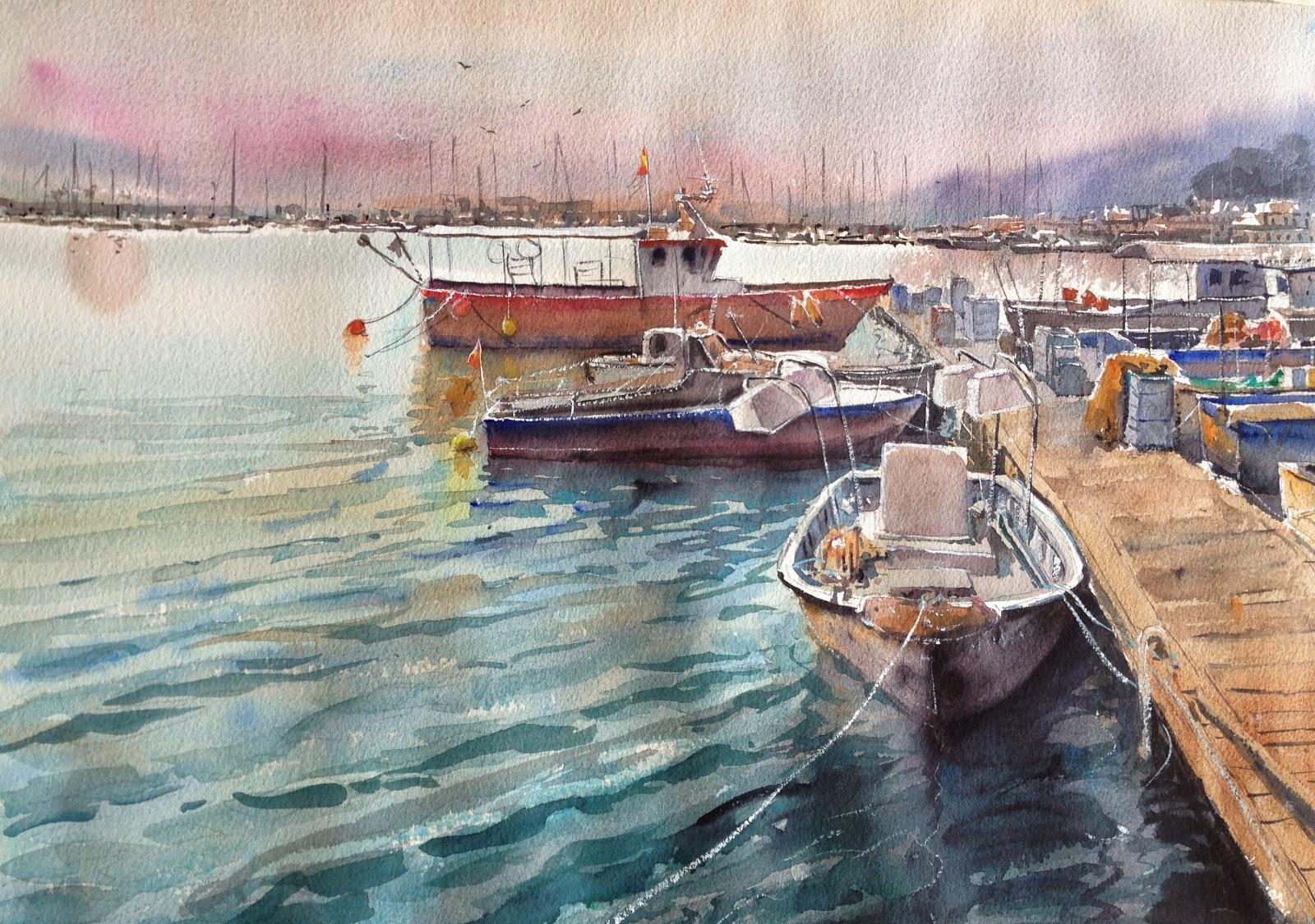 Acuarelas de antonio medina puerto de burriana - Puerto burriana ...