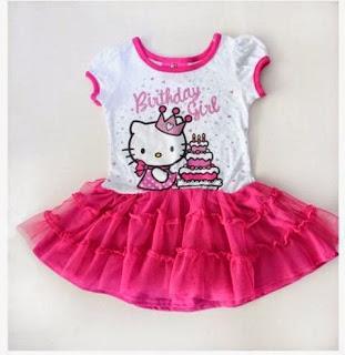 Dress tutu hello kitty ulang tahun warna pink lucu