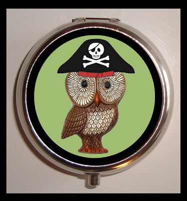 pillbox with pirate owl