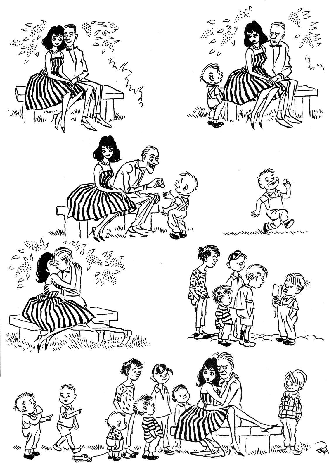 Herluf Bidstrup, pareja de enemorados, niños y helado