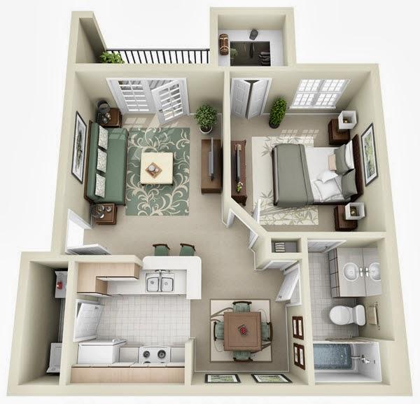 Baño En Dormitorio Pequeno:Departamento pequeño en planos 3D, sala, cocina, baño, 1 dormitorio