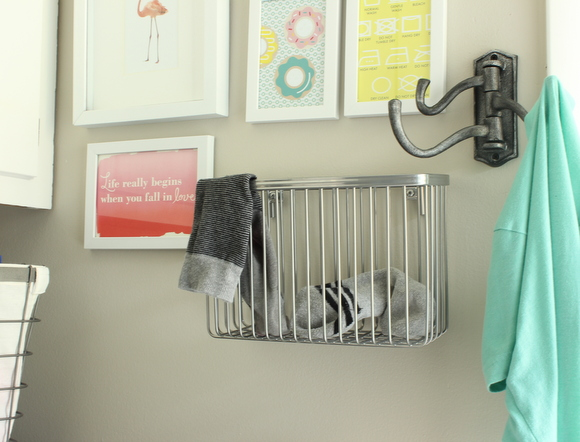 A basket for extra socks in the laundry room