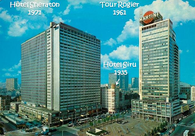 Place Rogier - Hôtel Sheraton (1971) - Tour Martini (1961) - Hôtel Siru (1935) - Bruxelles-Bruxellons