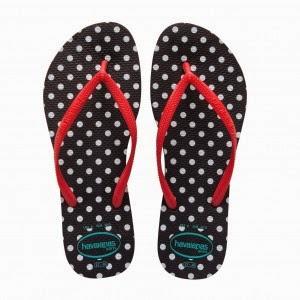 Havaianas slim black with white polka dots