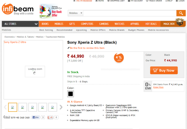 Xperia Z Ultra Prices in india