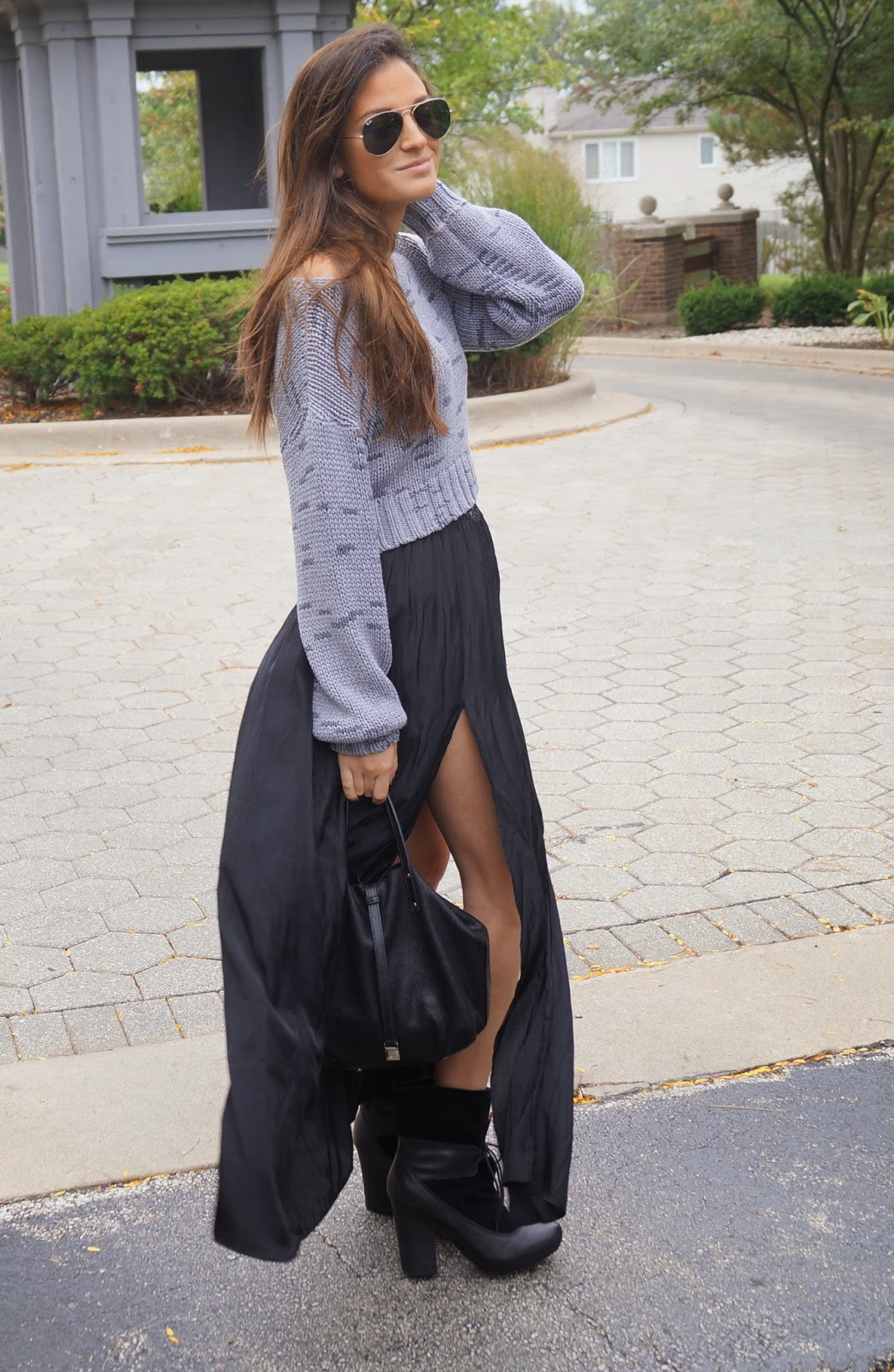maxi dress with a sweater