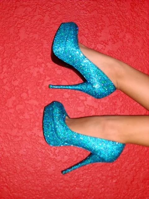 blue sparkly heels
