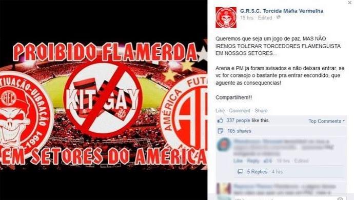 """""""NÃO IREMOS TOLERAR FLAMENGUISTAS"""", DIZ ORGANIZADA DO AMÉRICA-RN"""
