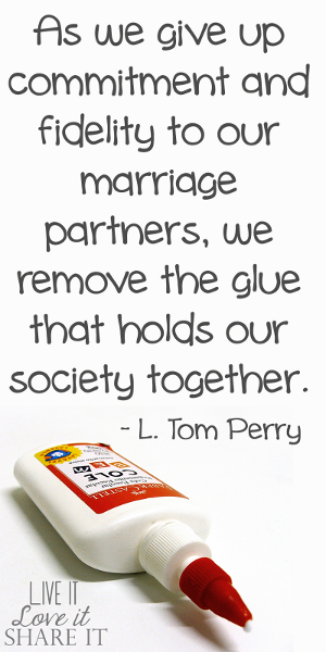 As we give up commitment and fidelity to our marriage partners, we remove the glue that holds our society together. - L. Tom Perry