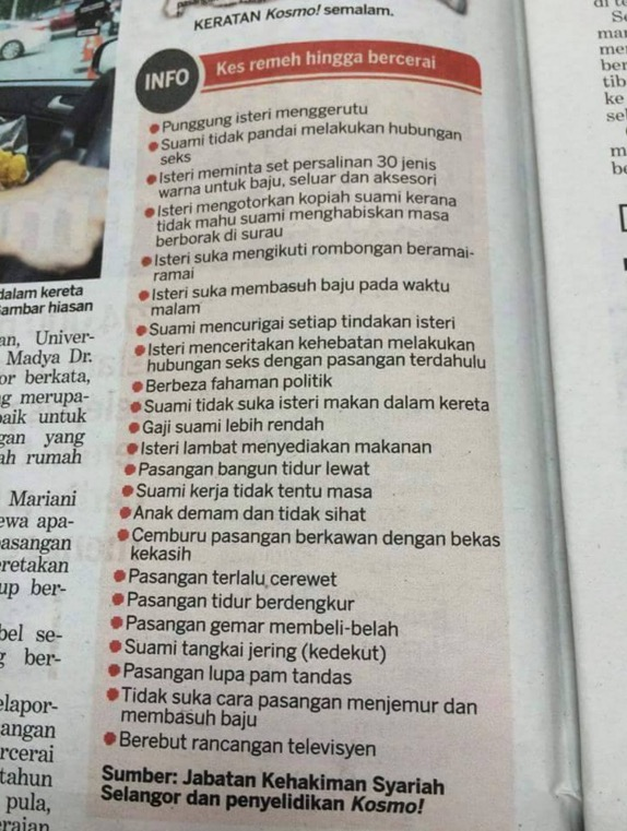Alasan bercerai yang tak masuk akal di Selangor