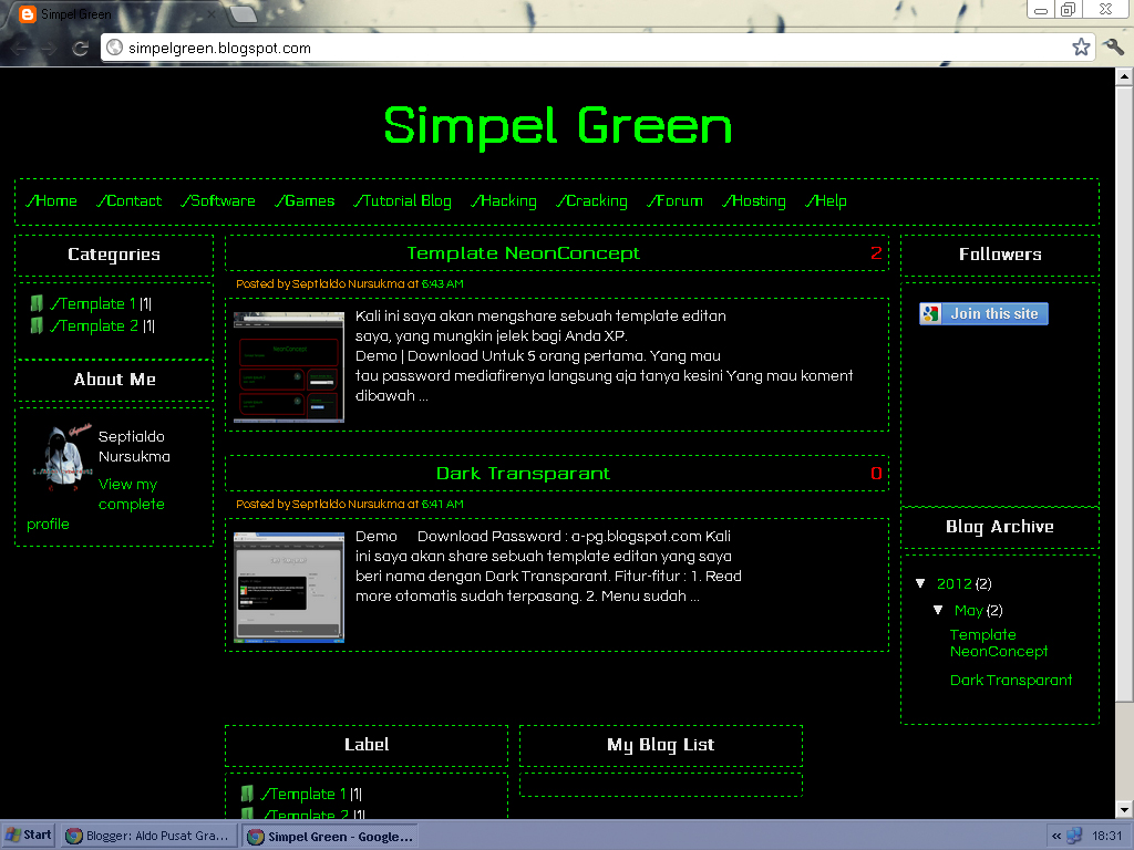Template Blogs Simple Green