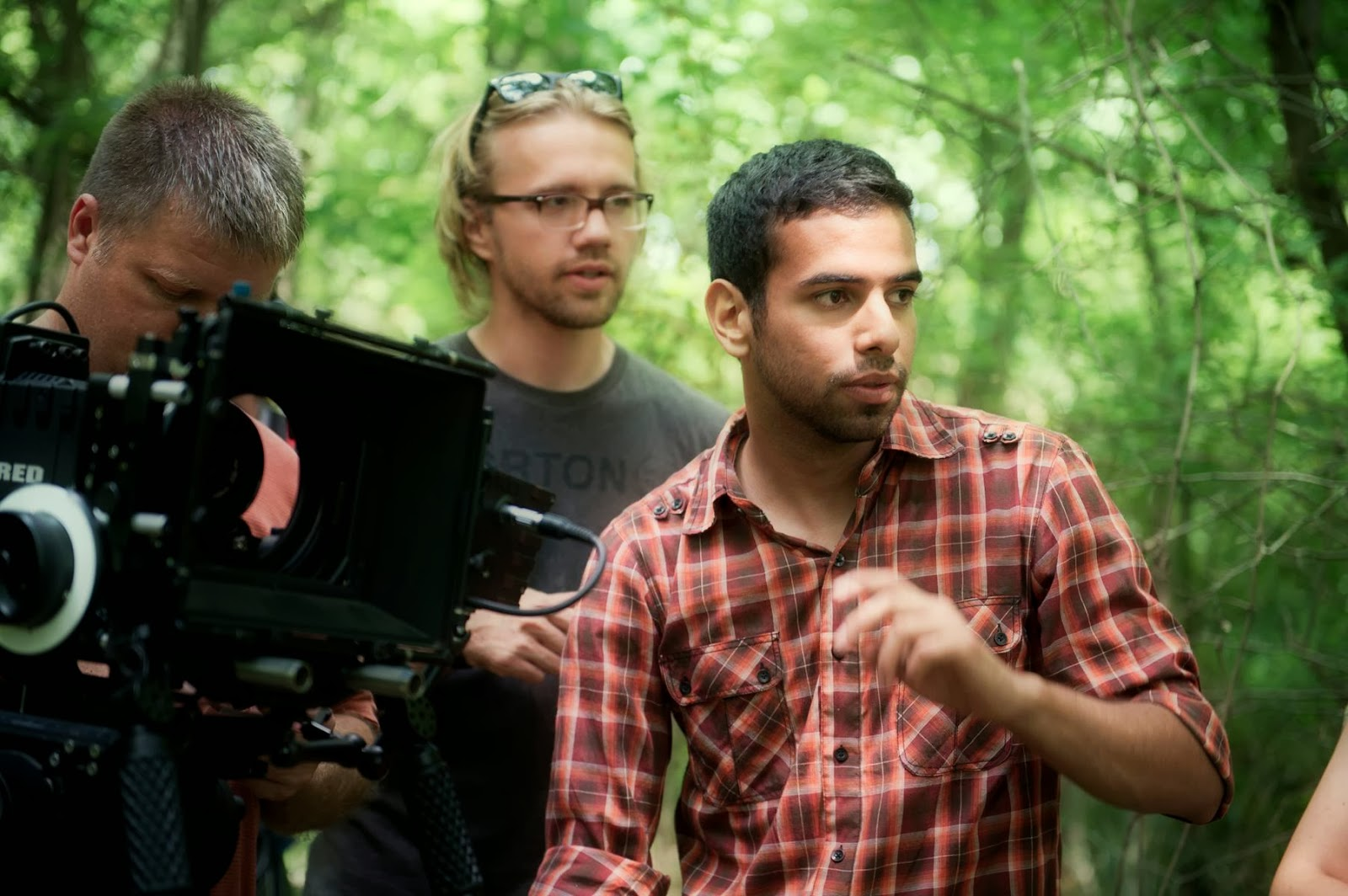 Conrad Faraj, right, sets the scene on the set of 'The Wind is Watching'