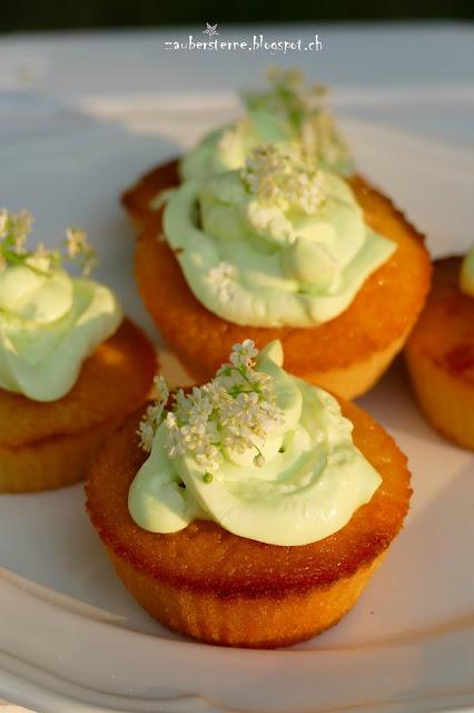 Holunderblütenmuffins, Holundercupcakes, Holundersirupkuchen