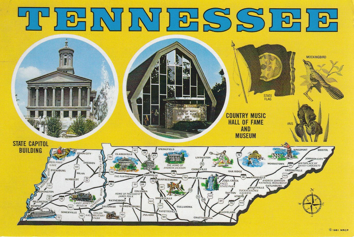 Korponay szabo peters mail collection oktber 2011 the postcard was sent from nashville which is the capital of tennessee and it is a great map card with the state symbols on it thanks to melissa buycottarizona Images