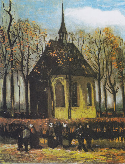 "Picture of Painting ""Congregation Leaving the Reformed Church in Nuenen"" by Vincent van Gogh, 1884, stolen from the Isabella Stewart Gardner Museum in Boston MA in 1990"