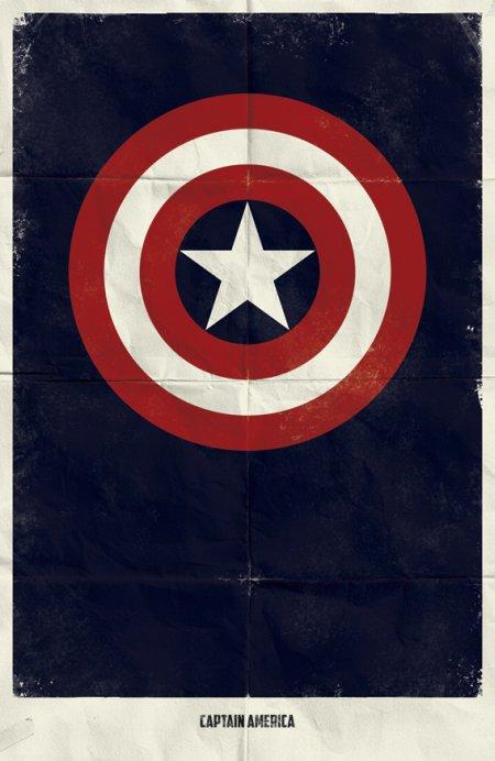 marko manev ilustração poster minimalista super heróis marvel Capitão América