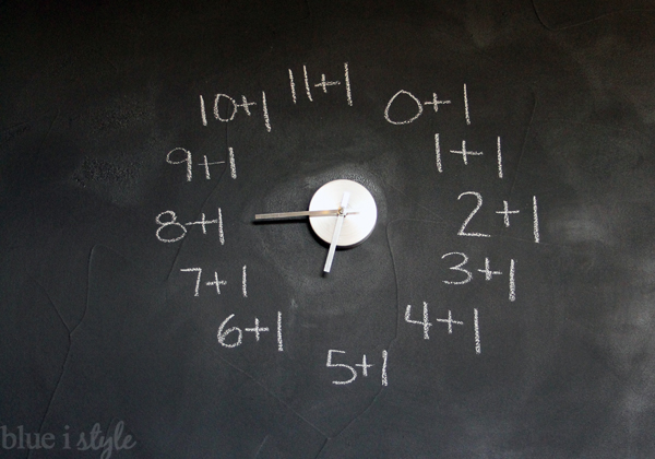 Chalkboard clock with addition