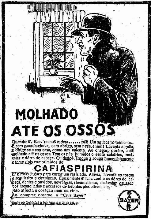 Propaganda do Cafiaspirina - molhado até os ossos pela chuva (gripe) - 1925