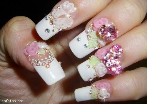 diseños de uñas con flores lindas para ver, imagenes hermosas para ver  gratis, uñas para boda matrimonial