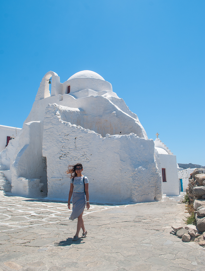 mykonos town ootd with the famous church