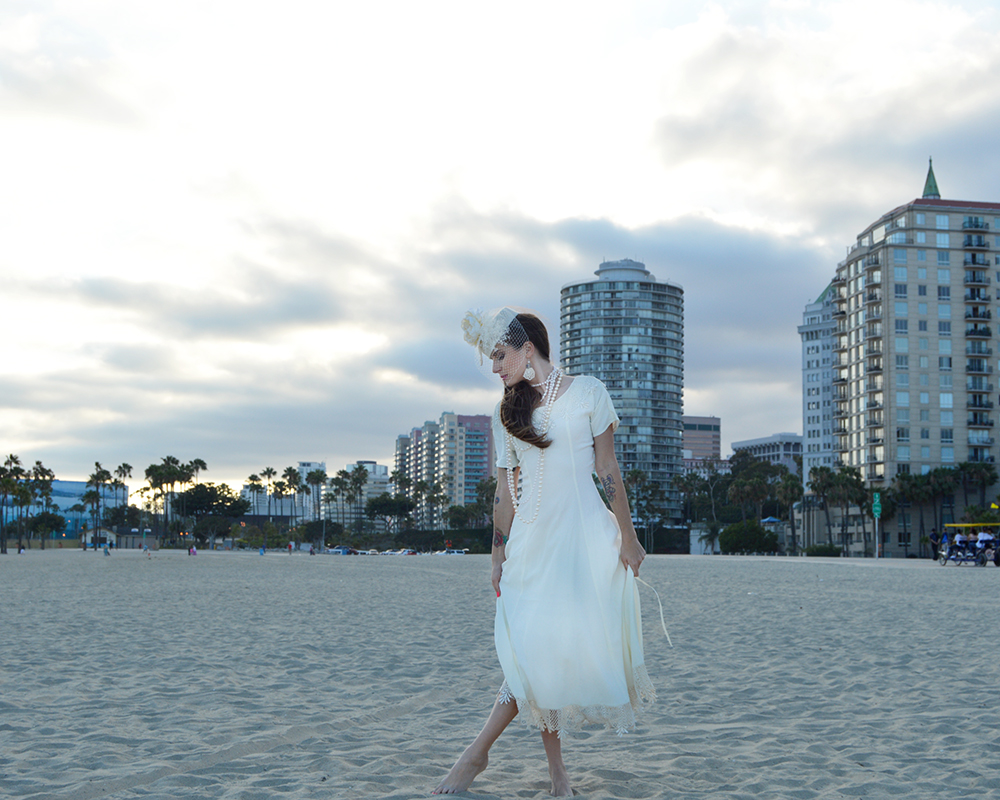 The Galen Bridal Hat by White Purls at the Beach