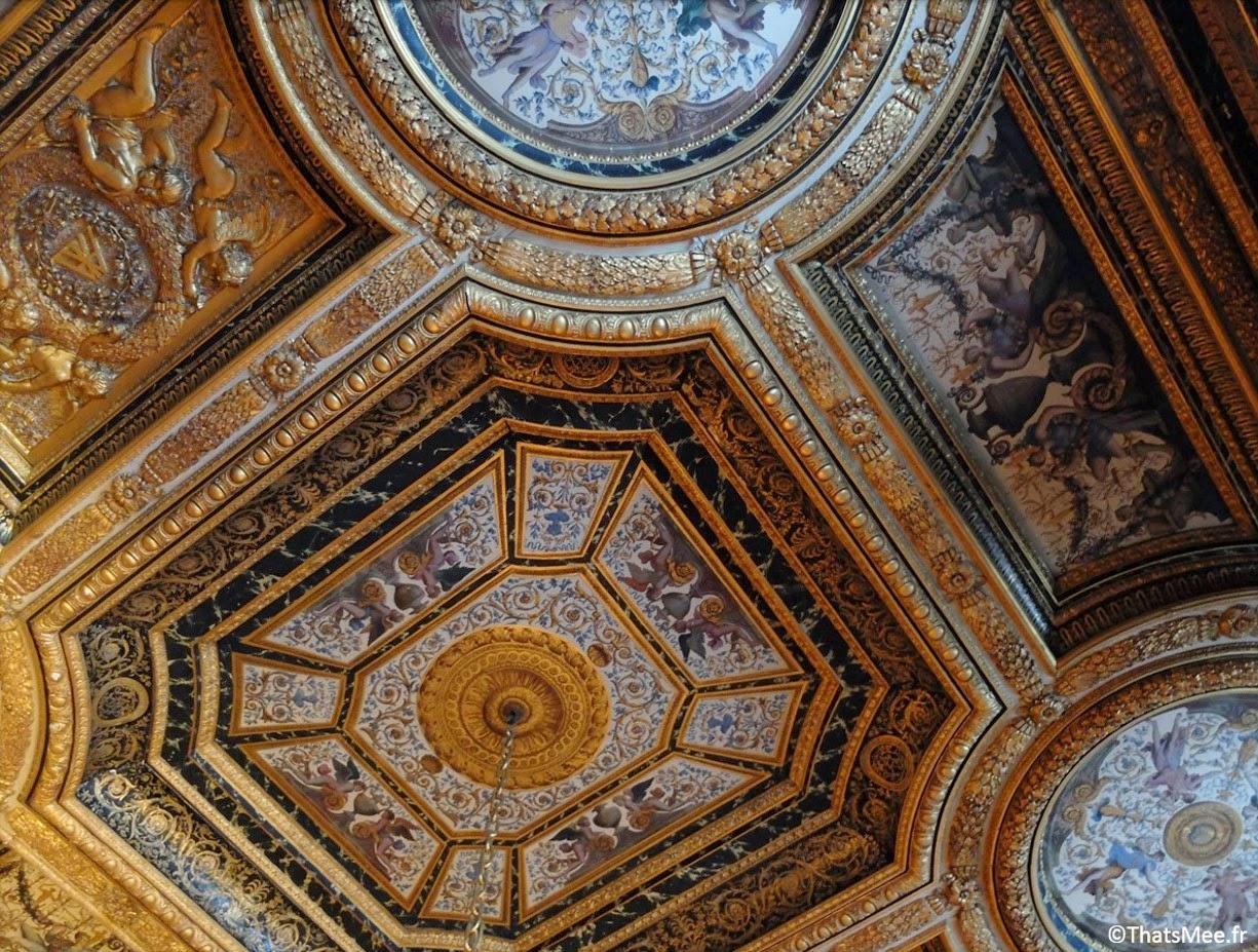 plafond chambre Anne Autriche déco dorures Chateau de Fontainebleau Napoleon François Ier Renaissance Seine-et-Marne 77 tourisme