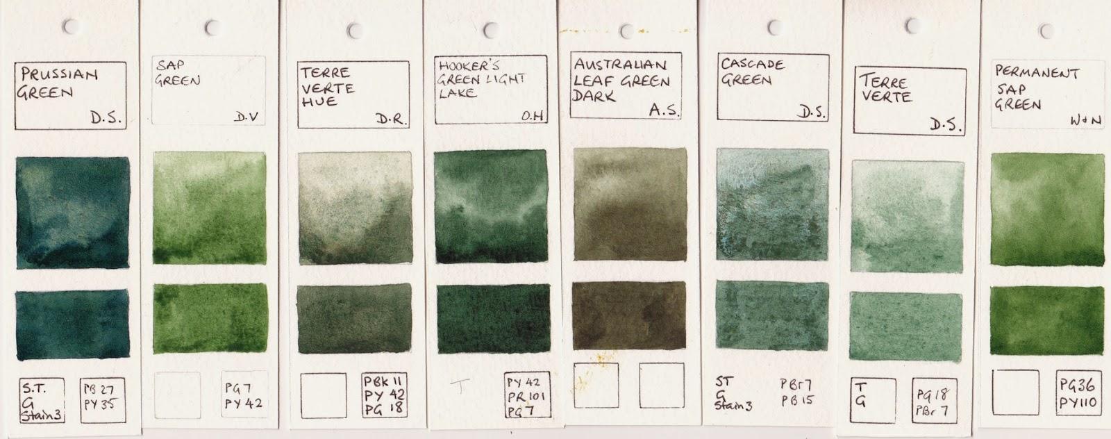 Jane Blundell Artist Watercolour Comparisons 5 Greens