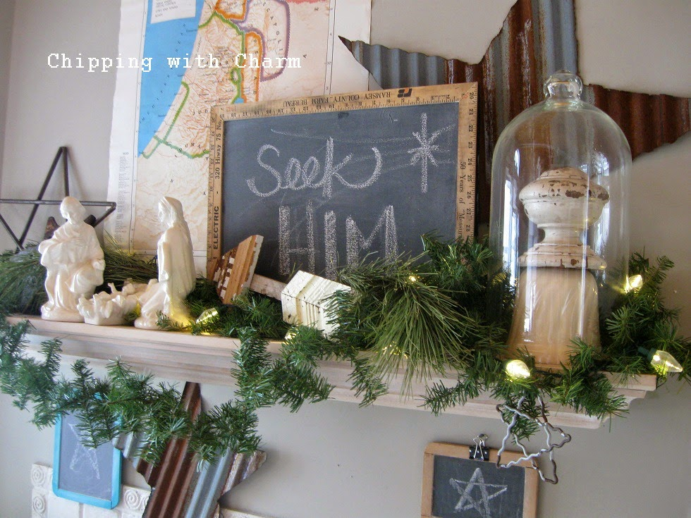 Chipping with Charm: Christmas Mantel 2014...http://chippingwithcharm.blogspot.com/