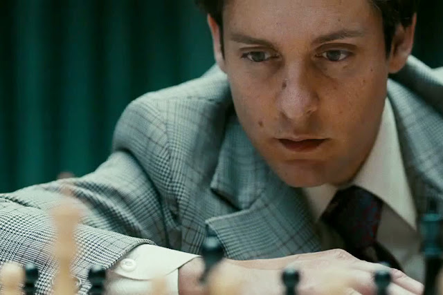 "Tobey Maguire stars as Bobby Fischer in ""Pawn Sacrifice"""