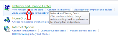 Klik network and sharing center