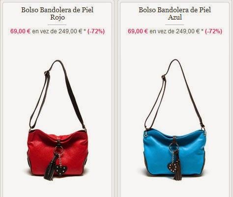 Bolsos en azul y rojo tipo bandolera