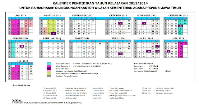 KALENDER PENDIDIKAN TAHUN AJARAN 2013 - 2014