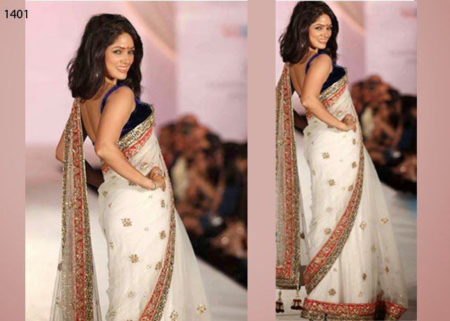 Bollywood acterss Designer White Saree