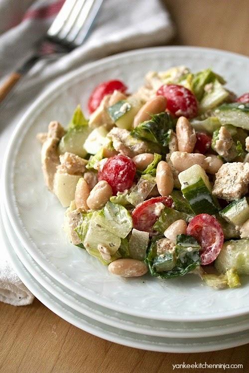 healthy, easy naan fattoush salad with yogurt dressing