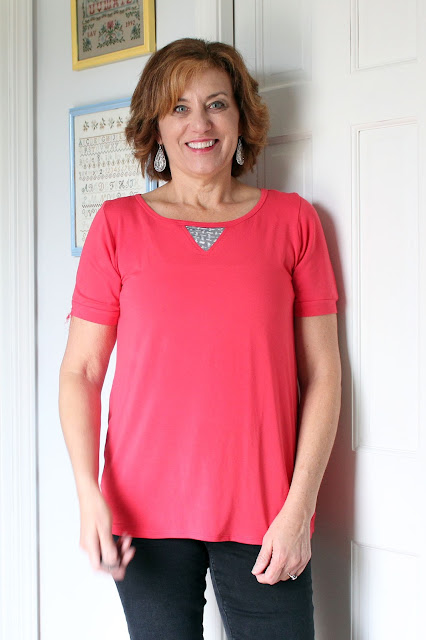 Indiesew Neptune tee with front inset  made with rayon lycra jersey