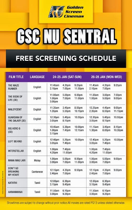 GSC Nu Sentral Free Screening schedule