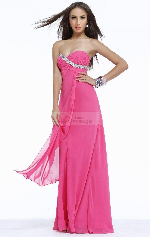 Robe de soirée bustier en cœur rose princesse pour Noël