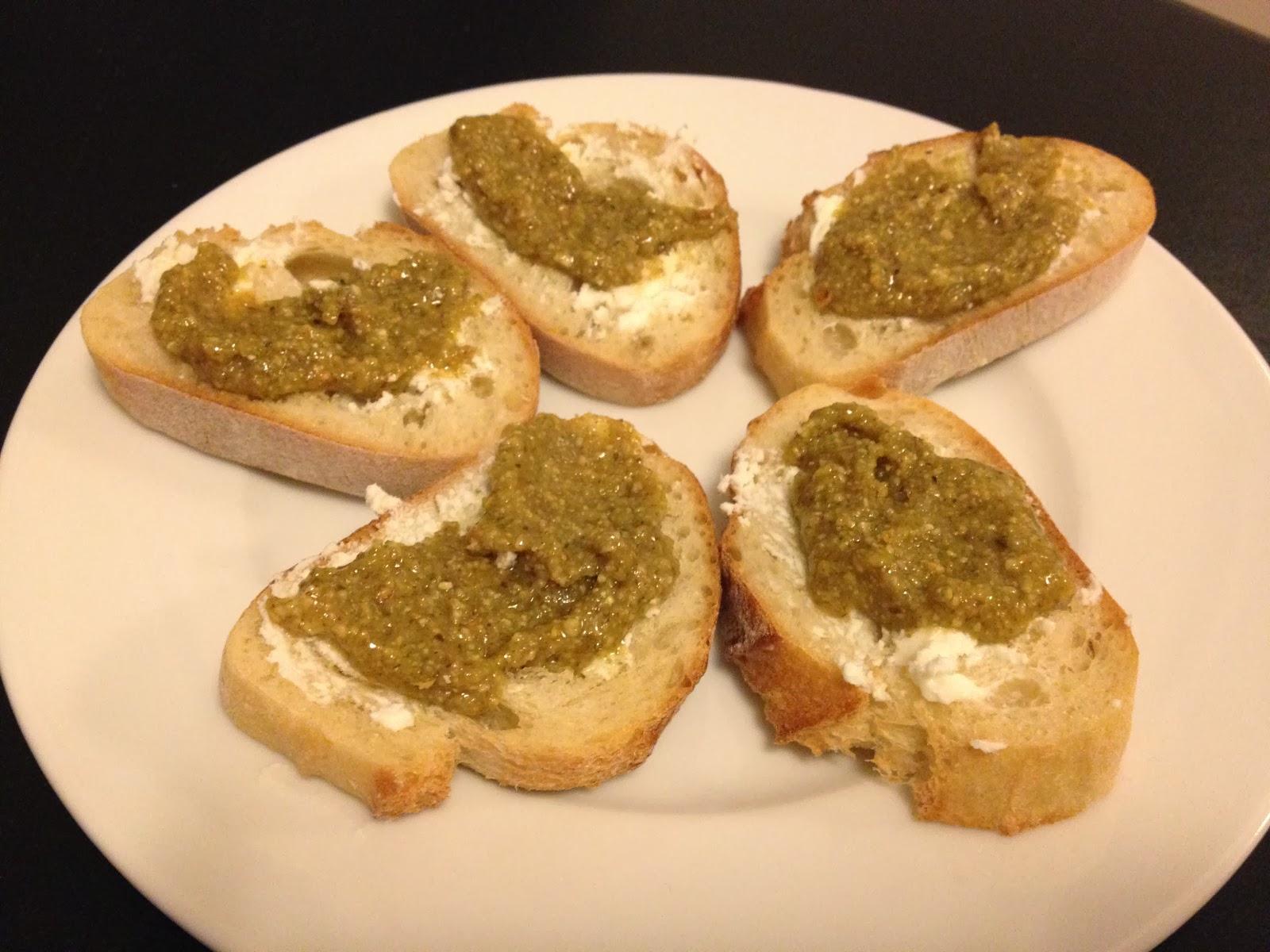 Ruminations on Food: Pumpkin Seed Pesto & Goat Cheese Crostini