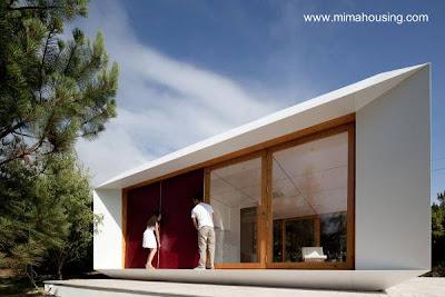 Perspectiva de una casa prefabricada vanguardista