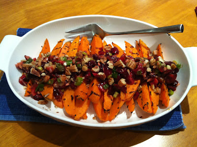 Southern Spoon Blog: grilled sweet potato wedges with cherry pecan salsa, from The First Mess