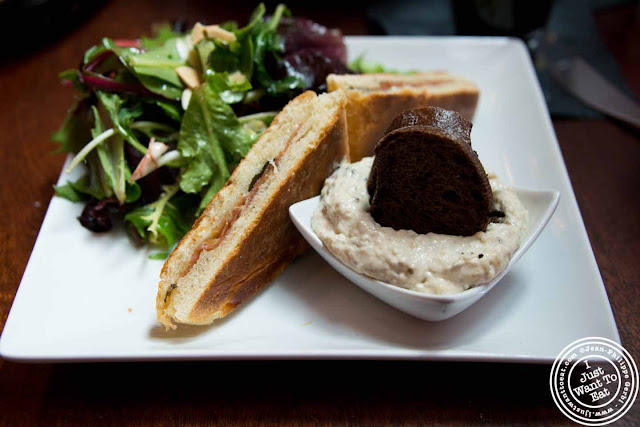 Image of Eggplant puree and panini at Ayza Wine and Chocolate Bar in NYC, New York