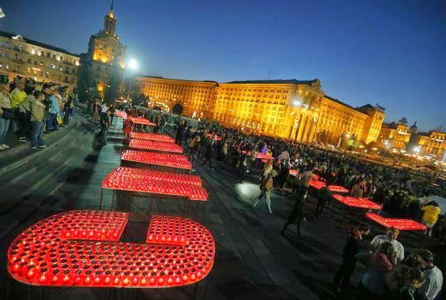 """На Майдане состоялась акция в поддержку участников боевых действий и в память Героев """"Небесной сотни"""