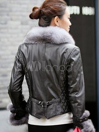 Quality Black V-Neck Sheepskin Women's Fur Jacket
