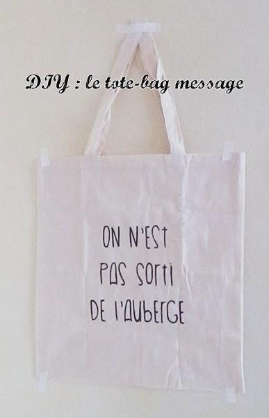 diy tote bag message caro dels blog diy et loisirs cr atifs. Black Bedroom Furniture Sets. Home Design Ideas