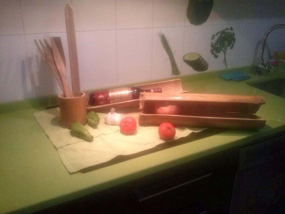Arte y manualidades menaje de cocina hecho con bamb for Utillaje cocina