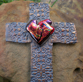 Flame Red Heart ceramic and dichroic glass Wall Cross by Laughing Crafter Studio on Etsy