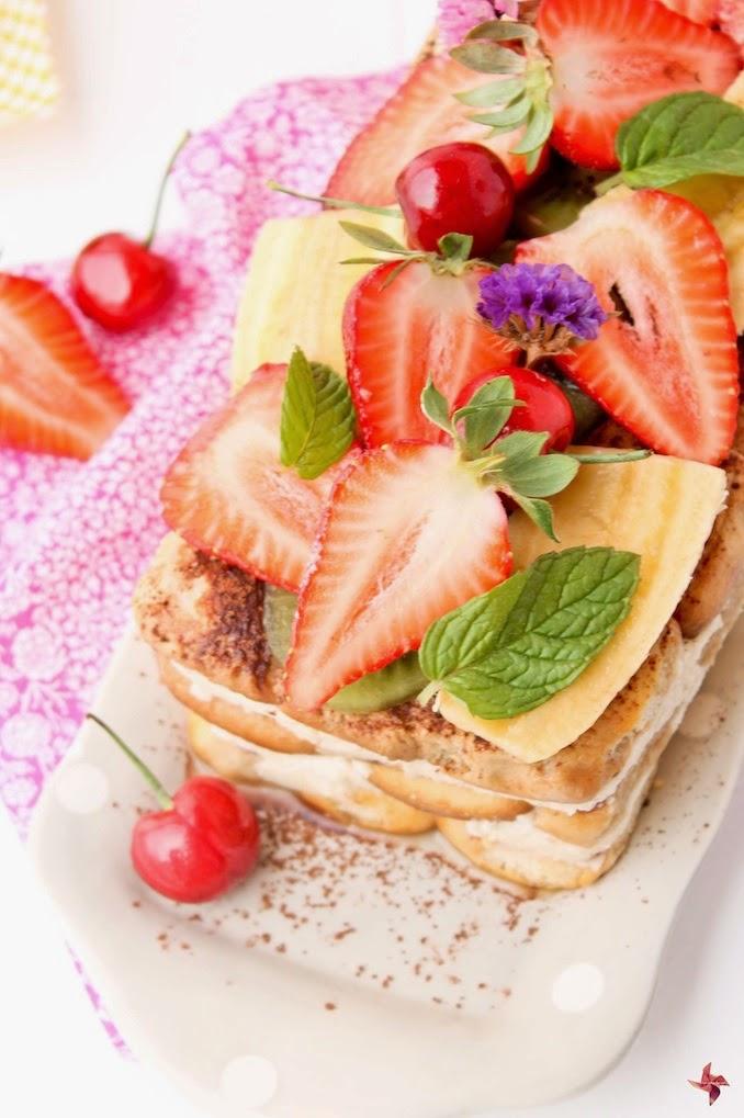 Tiramisú de fruta