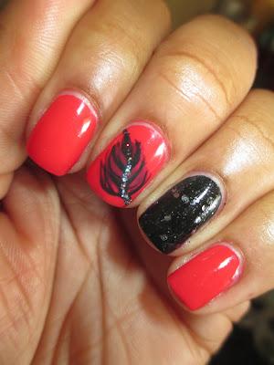 Julep, Mandy, Patti, Brandt, feather. glitter, pink, red, creme, accent nails, nail art, nail design, mani